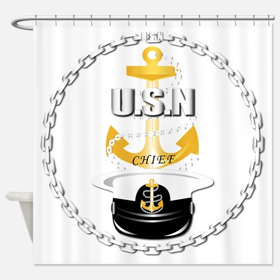 Navy - CPO - Chief Hat Shower Curtain