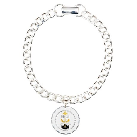Navy - CPO - Chief Hat Charm Bracelet, One Charm