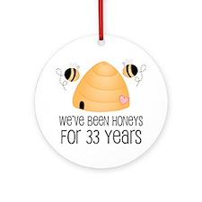 33rd Anniversary Honey Ornament (Round)