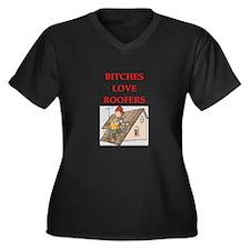 roofer Women's Plus Size V-Neck Dark T-Shirt