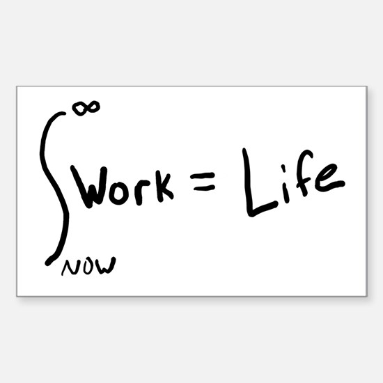 Intergral of work equals life Oval Decal