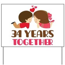 34 Years Together Anniversary Yard Sign