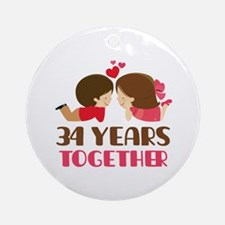 34 Years Together Anniversary Ornament (Round)