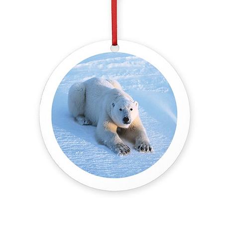 Polar Bear Blue Ornament (Round)