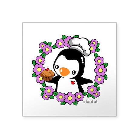 """Pretty Penguin (4) Square Sticker 3"""" x 3"""""""