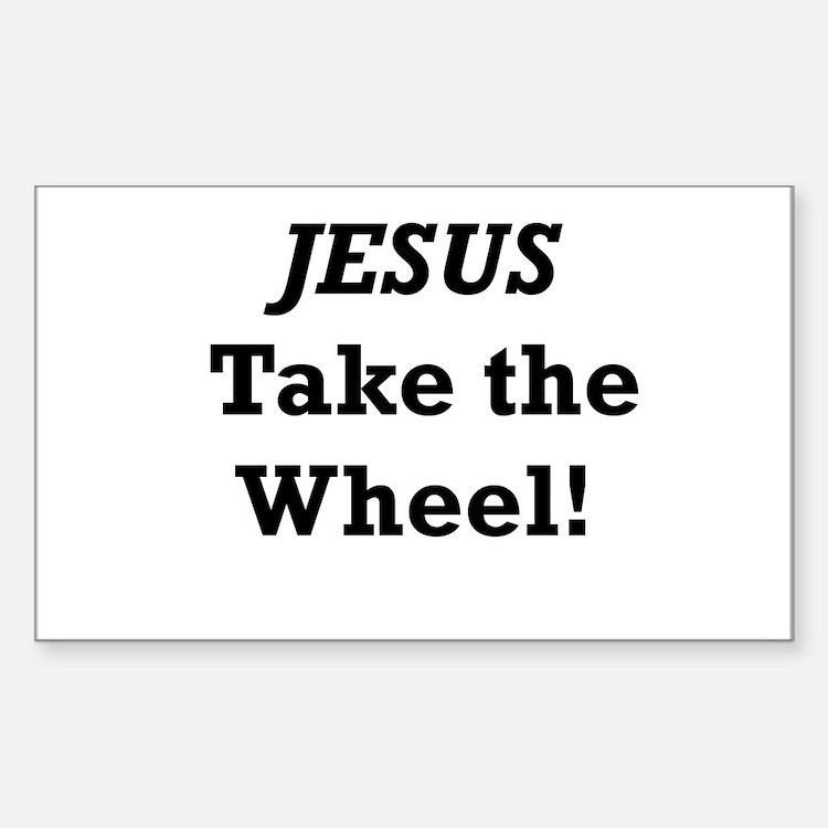 Jesus Take the Wheel Sticker (Rectangle)