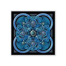 "Blue Celtic Tapestry Square Sticker 3"" x 3"""