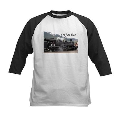 I'm just loco: Colorado steam train 2 Kids Basebal