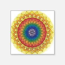 "Sunflower Crown Mandala Square Sticker 3"" x 3"""