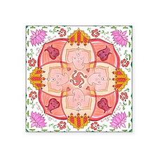 "Ganesha Mandala Square Sticker 3"" x 3"""