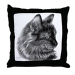 Tortoise Long-Hair Cat Throw Pillow