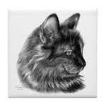 Tortoise Long-Hair Cat Tile Coaster