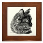 Tortoise Long-Hair Cat Framed Tile