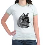 Tortoise Long-Hair Cat Jr. Ringer T-Shirt