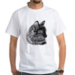 Tortoise Long-Hair Cat White T-Shirt