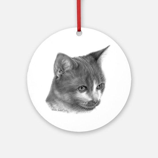 Orange & White Short-Hair Cat Ornament (Round)
