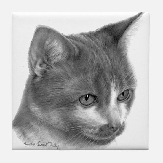 Orange & White Short-Hair Cat Tile Coaster