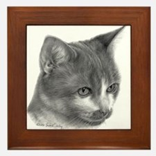 Orange & White Short-Hair Cat Framed Tile