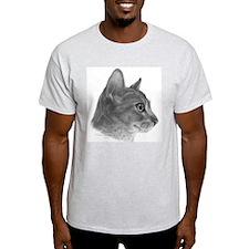 Abysinnian Cat Ash Grey T-Shirt