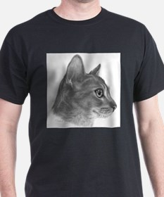 Abysinnian Cat Black T-Shirt