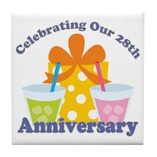 28th Anniversary Party Gift Tile Coaster