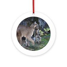 Cougar Mom & Cub Ornament (Round)