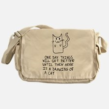 Here is the drawing of a cat_CP.png Messenger Bag