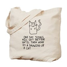 Here is the drawing of a cat_CP.png Tote Bag