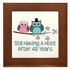 49th Anniversary Owls Framed Tile