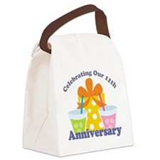 11th Anniversary Party Gift Canvas Lunch Bag