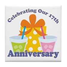 17th Anniversary Party Gift Tile Coaster