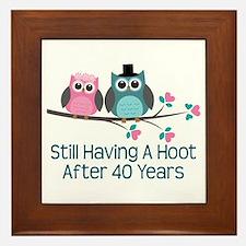 40th Anniversay Owls Framed Tile