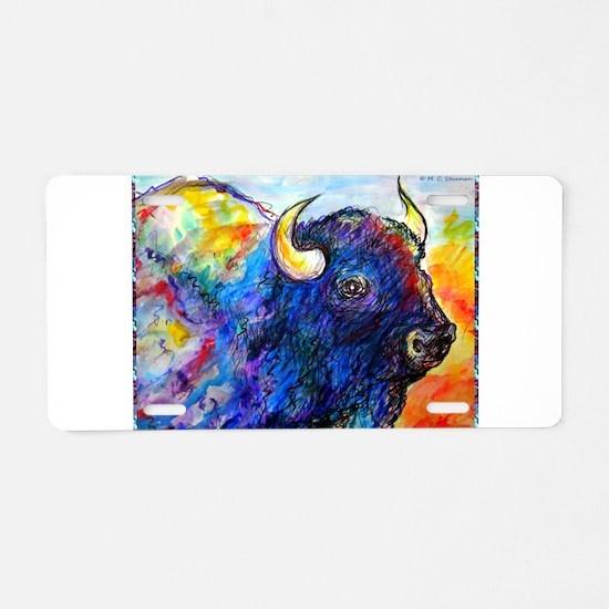 Buffalo, colorful art! Aluminum License Plate
