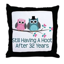 32nd Anniversay Owls Throw Pillow