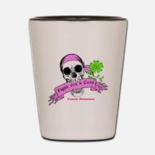 Fight For a Cure Skull Scroll Pink Shot Glass