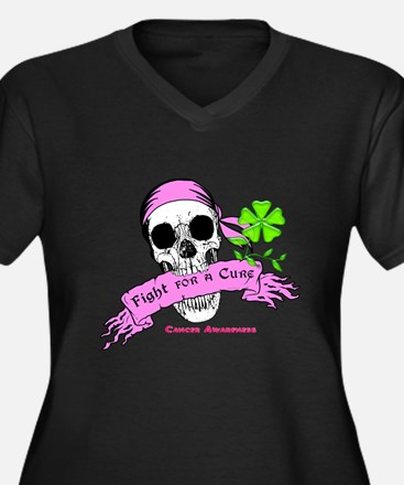 Fight For a Cure Skull Scroll Pink Women's Plus Si