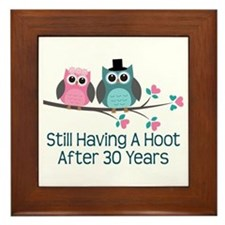 30th Anniversay Owls Framed Tile