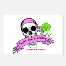 Fight For a Cure Skull Scroll Pink Postcards (Pack