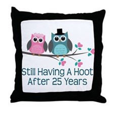 25th Anniversay Owls Throw Pillow