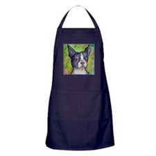 Dog! Boston Bull Terrier! Art! Apron (dark)