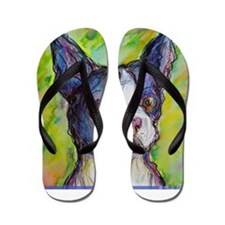 Dog! Boston Bull Terrier! Art! Flip Flops