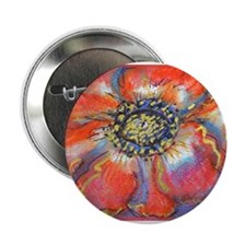 "Poppy! Red Flower! Art! 2.25"" Button"