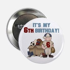 I Love Sports 6th Birthday Button