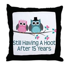 15th Anniversay Owls Throw Pillow
