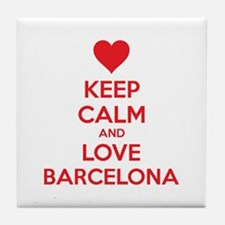 Keep calm and love Barcelona Tile Coaster