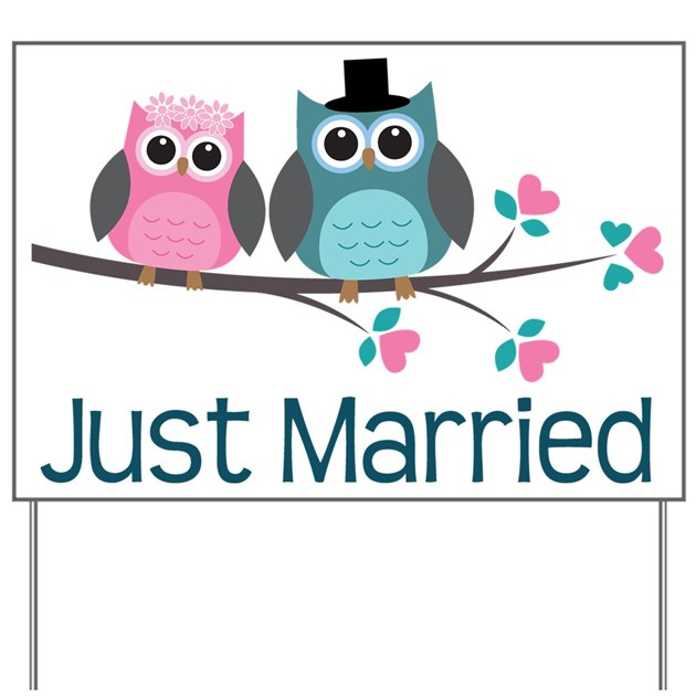 11 Year Wedding Anniversary Gifts: Just Married Owls Yard Sign By Anniversarytshirts2