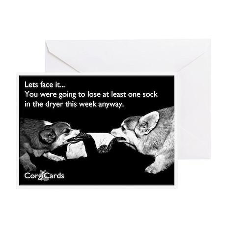 Corgi Sock Tug-O-War Greeting Card