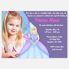Princess Blond Birthday Invite 5x7 Flat Cards