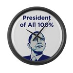 Obama: President of All 100% Large Wall Clock