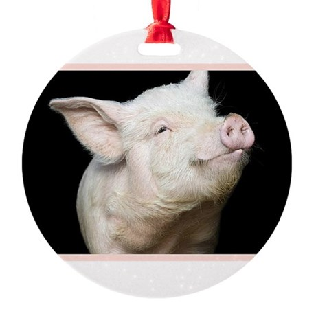Cutest Pig Round Ornament